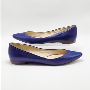 Chloe Blue Pointed Toe Slip On Flats